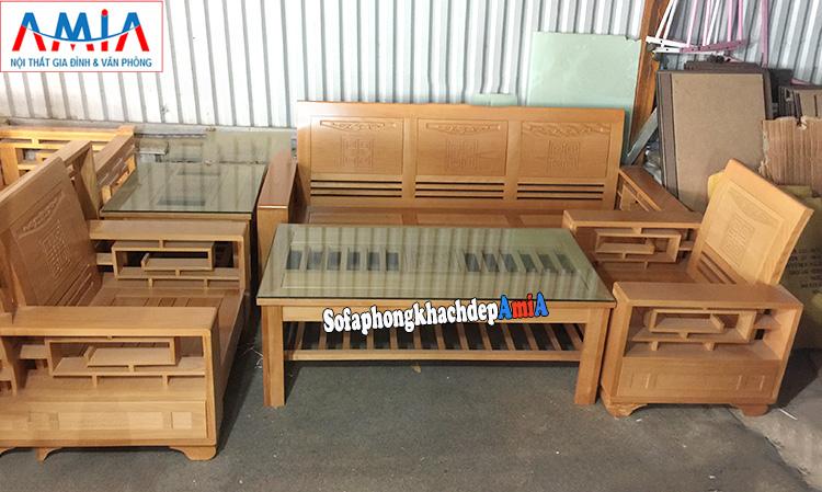 Hình ảnh Bộ bàn ghế sofa gỗ Sồi cho phòng khách hiện đại gia đình