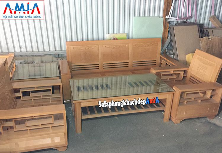 Hình ảnh bàn ghế sofa gỗ Sồi giá rẻ phòng khách hiện đại và sang trọng