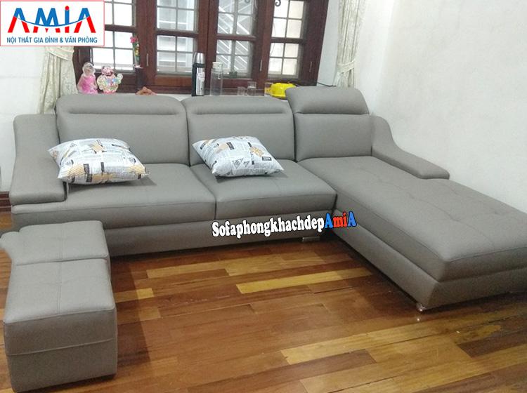 Hình ảnh Ghế sofa da góc chữ L cho phòng khách đẹp rất tiện lợi và tiện dụng khi bài trí