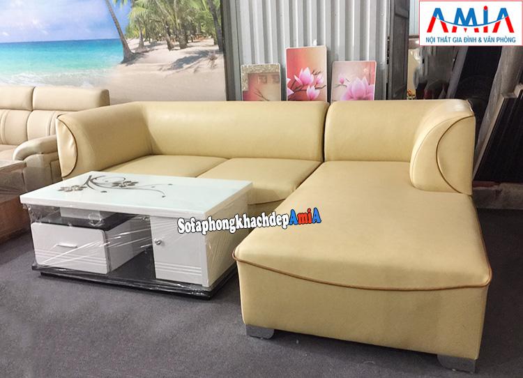 Hình ảnh Ghế sofa da phòng khách hiện đại hình chữ L độc đáo