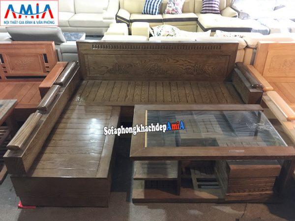 Hình ảnh Ghế sofa gỗ chữ L cho phòng khách nhỏ bài trí rất tiện lợi và linh hoạt