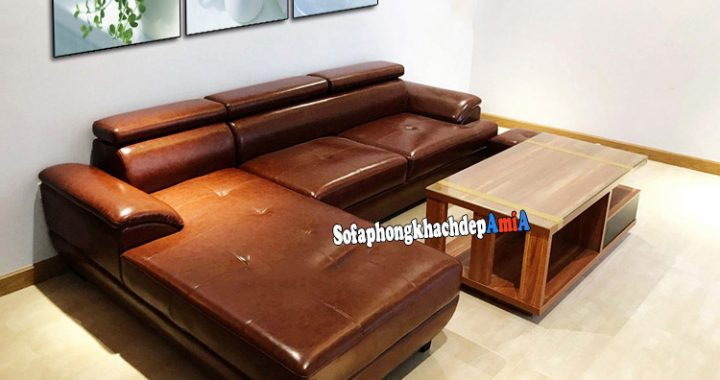 Hình ảnh Giá bộ bàn ghế sofa phòng khách da góc chữ L kết hợp bàn trà sofa đẹp