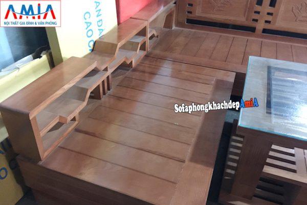Hình ảnh chi tiết ghế sofa gỗ Sồi giá rẻ cho phòng khách đẹp