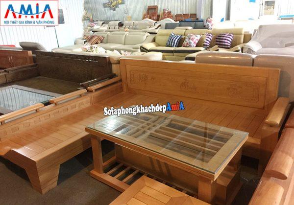 Hình ảnh Mẫu sofa chữ L gỗ đẹp hiện đại giá rẻ cho phòng khách đẹp gia đình