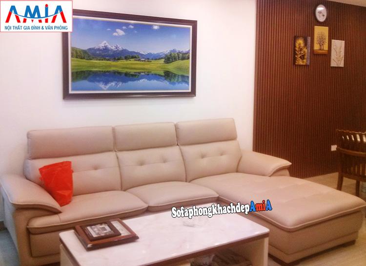 Hình ảnh Sofa cho căn hộ chung cư thiết kế dạng chữ L 3 chỗ đẹp hiện đại