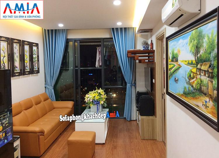 Hình ảnh Sofa cho phòng khách nhỏ hẹp bài trí sát tường
