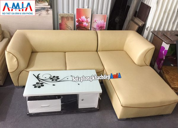 Hình ảnh Sofa da đẹp cho phòng khách hiện đại thiết kế hình chữ L