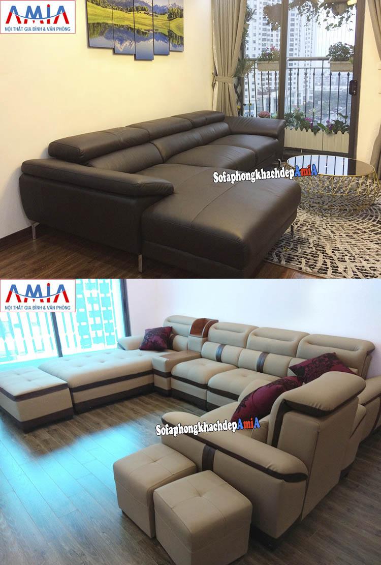 Hình ảnh Sofa da phòng khách đẹp cho chung cư lớn, chung cư nhỏ, chung cư mini