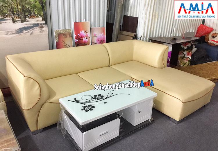 Hình ảnh Ghế sofa da phòng khách đẹp giá rẻ tại Hà Nội thiết kế hình chữ L
