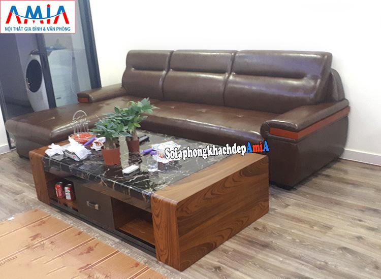 Hình ảnh Sofa đẹp kê phòng khách chung cư kết hợp bàn trà đẹp hiện đại