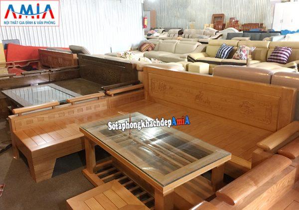 Hình ảnh Ghế sofa gỗ chữ L cho phòng khách hiện đại gia đình