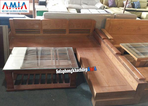 Hình ảnh Sofa gỗ chữ L đẹp hiện đại cho phòng khách nhỏ xinh xắn