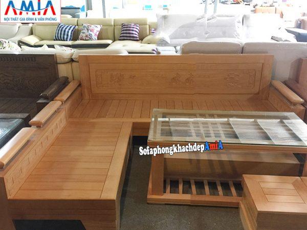 Hình ảnh Sofa gỗ kê phòng khách hiện đại tại Hà Nội thiết kế hình chữ L độc đáo
