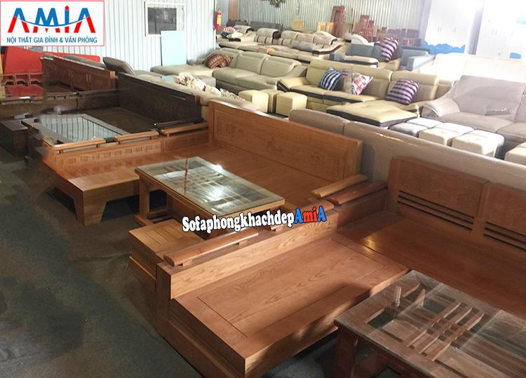 Hình ảnh Bàn ghế sofa gỗ phòng khách đẹp hiện đại giá rẻ tại Hà Nội