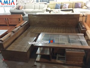 Hình ảnh Sofa gỗ phòng khách hiện đại gam màu nâu vân gỗ tự nhiên