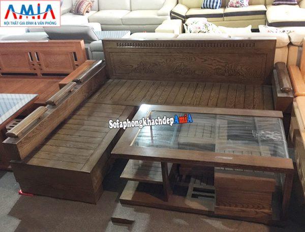 Hình ảnh Sofa gỗ phòng khách hiện đại màu nâu đen độc đáo cùng các vân gỗ tự nhiên