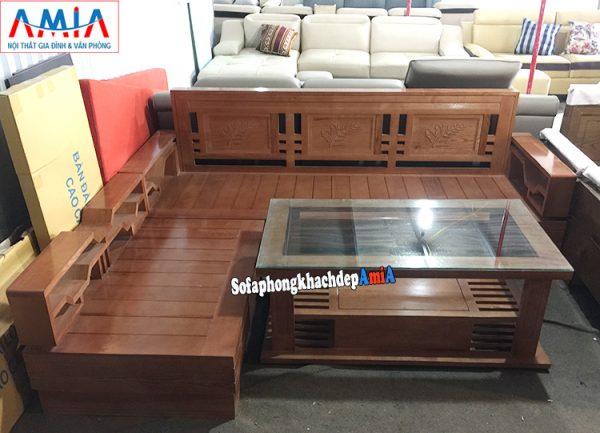 Hình ảnh sofa gỗ Sồi hình chữ L hiện đại kê phòng khách đẹp gia đình