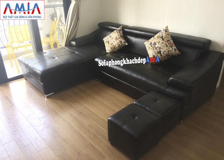 Hình ảnh Sofa góc cho phòng khách chung cư đẹp hiện đại thiết kế hình chữ L