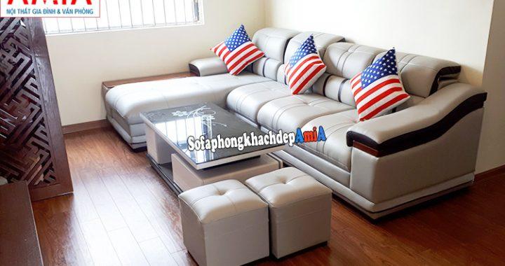 Hình ảnh Sofa góc cho phòng khách đẹp hiện đại nhà chung cư, chung cư nhỏ mini