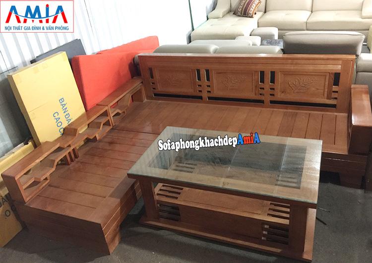 Hình ảnh Sofa góc gỗ Sồi giá rẻ cho phòng khách hiện đại gia đình