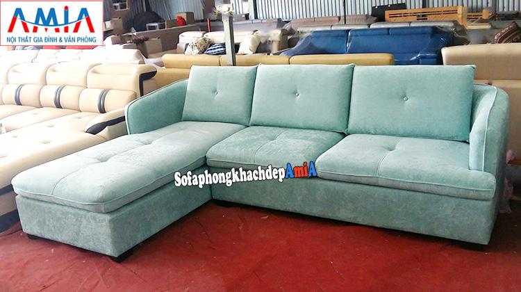 Hình ảnh Sofa nỉ góc chữu L kê phòng khách nhà phố, nhà chung cư hiện đại