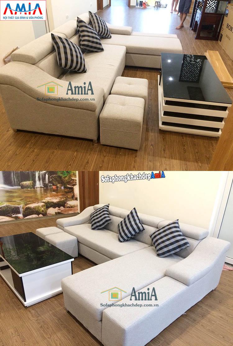 Hình ảnh Ghế sofa nỉ phòng khách đẹp hiện đại nhà phố, nhà ống