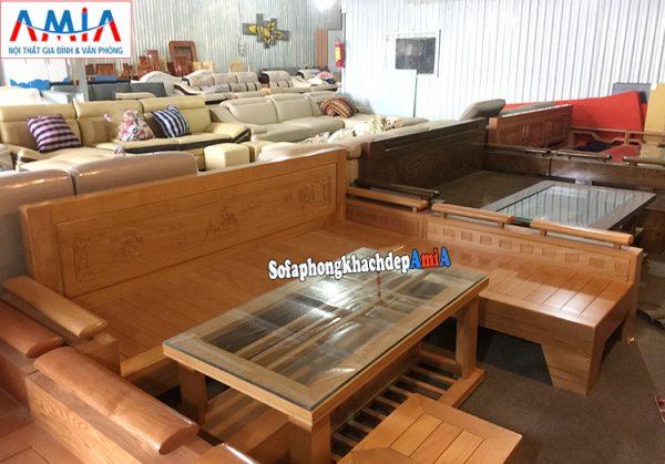 Hình ảnh Ghế sofa phòng khách hiện đại hình chữ L kết hợp bàn trà gỗ kính