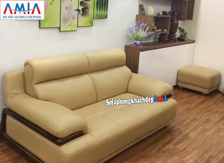 Hình ảnh Sofa phòng khách nhỏ giá rẻ thiết kế dạng ghế văng 2 chỗ kết hợp đôn lớn