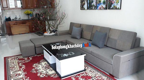 Hình ảnh sofa kê phòng khách nhà ống 4m sát tường