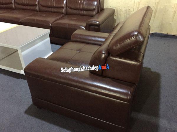 Hình ảnh ghế sofa da đơn cao cấp có tay vịn kê phòng khách lớn
