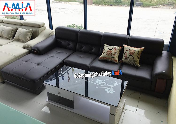 Hình ảnh Ghế sofa da phòng khách lớn cao cấp nhà phố, nhà chung cư hiện đại