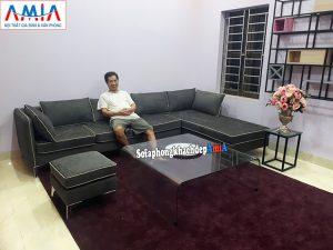 Hình ảnh sofa nỉ đẹp cho phòng khách lớn thiết kế hình chữ L tại AmiA