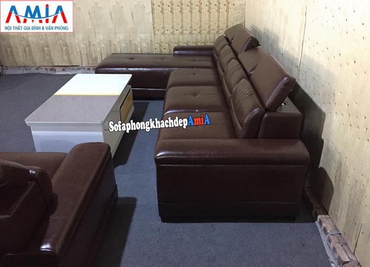 Hình ảnh Mẫu sofa da đẹp cho phòng khách cao cấp thiết kế hình chữ L kích thước lớn