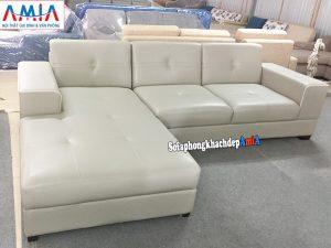 Hình ảnh Sofa da đẹp cho phòng khách thiết kế hình chữ L 3 chỗ hiện đại