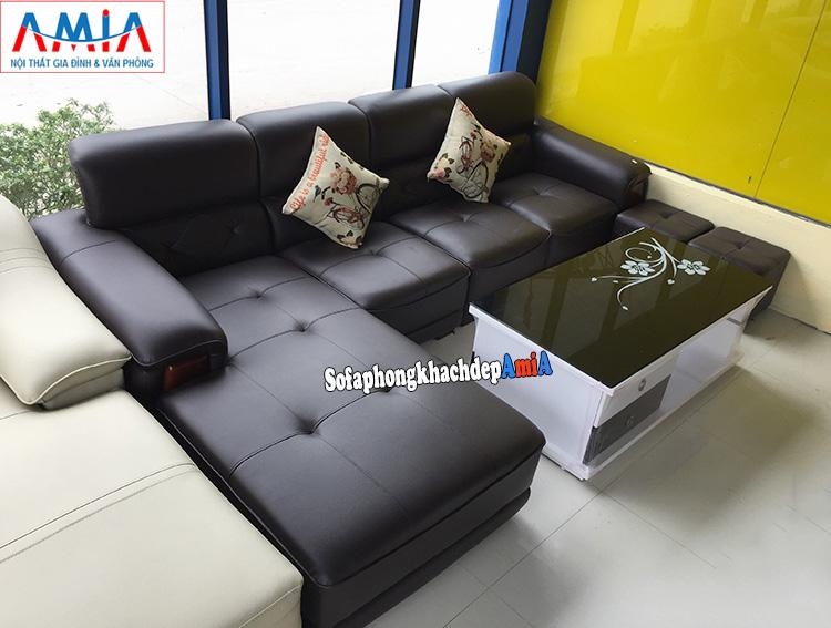 Hình ảnh Ghế sofa da góc L kê phòng khách lớn đẹp