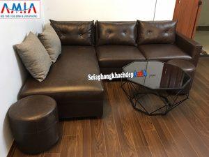 Hình ảnh sofa da phòng khách nhỏ giá rẻ hình L thiết kế 3 chỗ nhỏ gọn, xinh xắn