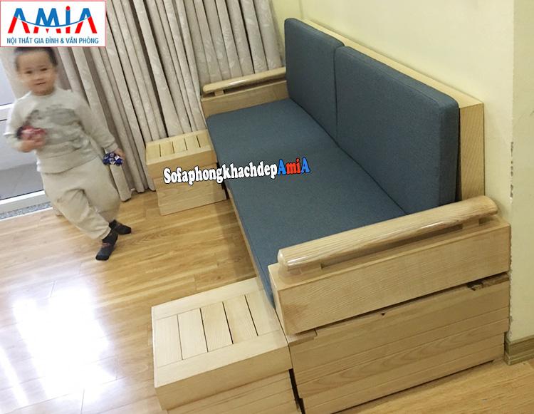 Hình ảnh Sofa gỗ cho phòng khách nhỏ thiết kế dạng văng đệm nỉ
