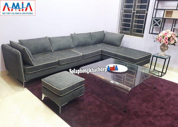 Hình ảnh Sofa nỉ phòng khách lớn giá rẻ thiết kế hình chữ L 4 chỗ hiện đại