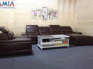 Hình ảnh Bộ sofa phòng khách cao cấp chất liệu da thiết kế hình chữ L chụp tại Tổng kho Nội thất AmiA