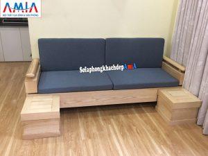 Hình ảnh Ghế sofa văng gỗ cho phòng khách kèm 2 đôn nhỏ tiện lợi