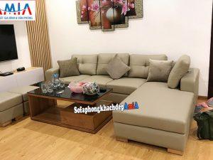 Hình ảnh Sofa da góc đẹp phòng khách nhỏ chung cư AmiA SFD168b