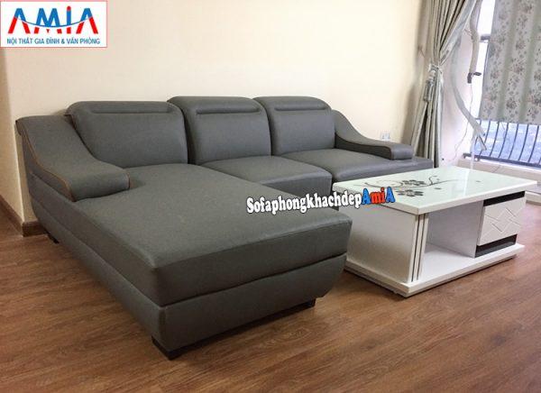 Hình ảnh Mẫu ghế sofa da cho phòng khách đẹp thiết kế hình chữ L tiện lợi 3 chỗ