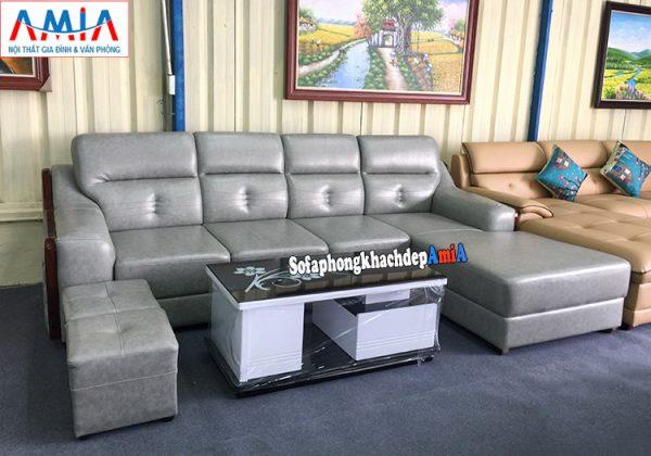 Hình ảnh ghế sofa da góc đẹp phòng khách lớn cao cấp nhà phố nhà chung cư