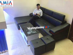 Hình ảnh Mẫu ghế sofa da phòng khách cao cấp thiết kế hiện đại với gam màu đen đặt làm theo yêu cầu