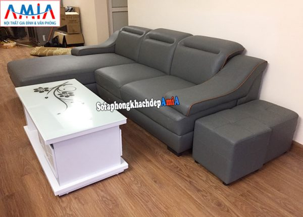 Hình ảnh Ghế sofa da phòng khách chữ L thiết kế 3 chỗ hiện đại
