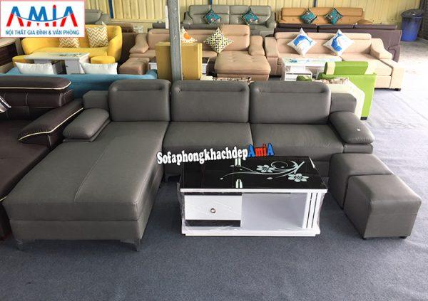Hình ảnh Ghế sofa da phòng khách đẹp thiết kế hình chữ L 3 chỗ hiện đại