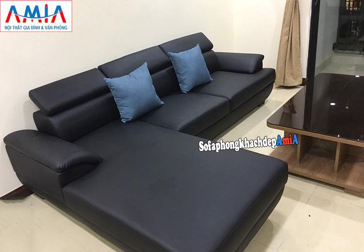 Hình ảnh Mẫu ghế sofa da phòng khách hình vuồng đẹp hiện đại thiết kế hình chữ L màu đen