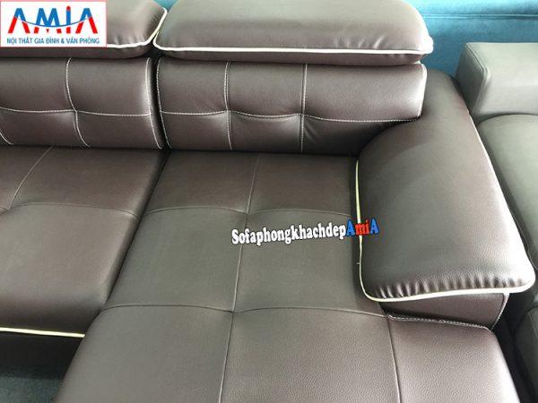 Hình ảnh chi tiết mẫu ghế sofa da phòng khách lớn phần tay và phần tựa lưng rút khuy độc đáo