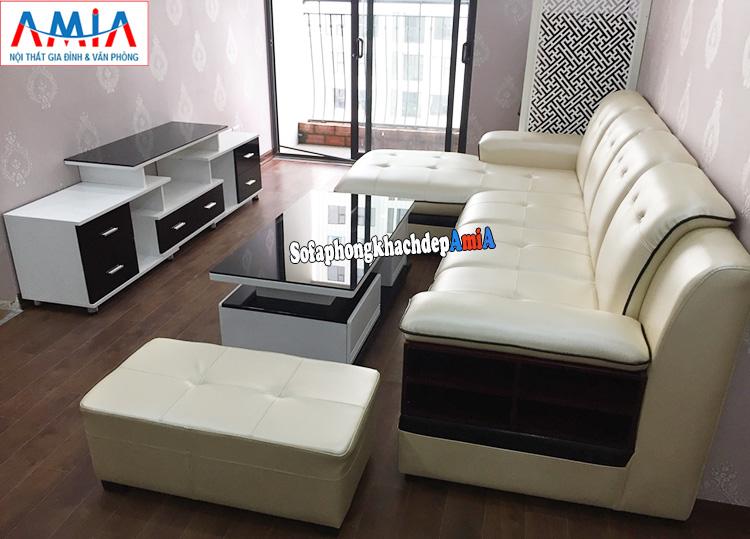 Hình ảnh mua sofa da phòng khách cho nhà chung cư