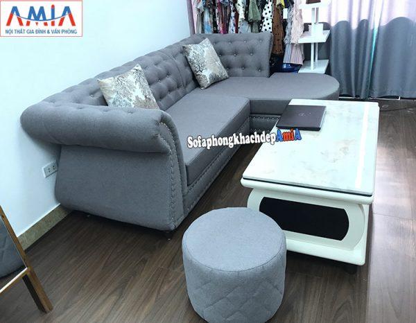 Hình ảnh Mẫu sofa nỉ nhỏ kê không gian đẹp hiện đại cửa hàng thời trang